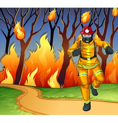 Fireman at the wild fire scene vector