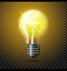 Transparent realistic glowing light bulb on vector