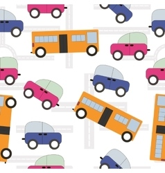 Seamless texture urban transport car bus kids vector