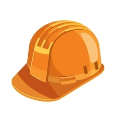 Orange construction helmet icon cartoon style vector