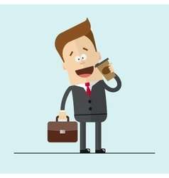 Businessman or manager drinking hot coffee happy vector