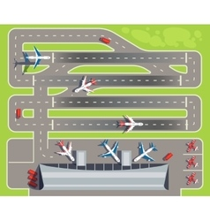Airport with passenger terminal airplanes vector image vector image