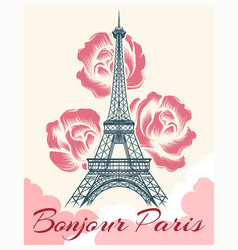 bonjour or hello paris retro poster vector image