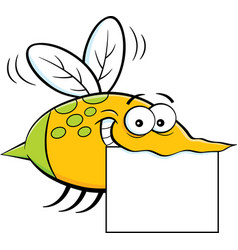 Cartoon flying insect holding a sign vector