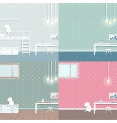 Children room background set vector image vector image