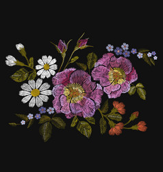 embroidery colorful floral pattern with dog roses vector image vector image