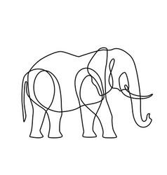endless line art of elephant vector image