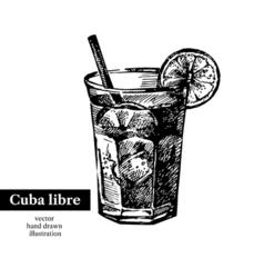 Hand drawn sketch cocktail cuba libre vintage vector