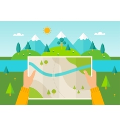 Hiker reading map vector