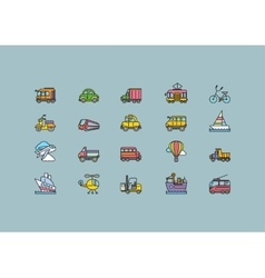 Kinds of Transport Set Colorful Outline Icons vector image vector image