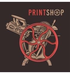 Letterpress overprint design vintage print vector