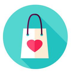 love shopping bag circle icon vector image vector image