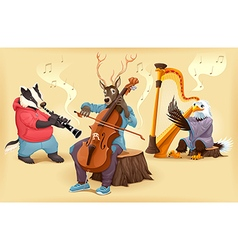Musician cartoon animals vector image vector image