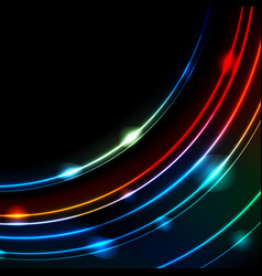 Neon glowing arc lines abstract background vector