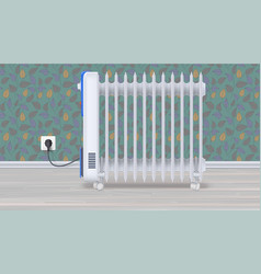 Oil radiator in room with wallpaper white vector