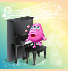 Pink monster playing piano vector