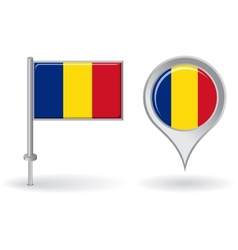 Romanian pin icon and map pointer flag vector image
