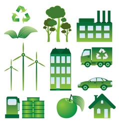 Set of ecology objects vector image vector image