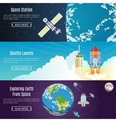 Space flat horizontal banners vector
