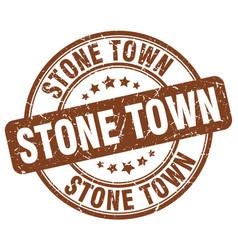 Stone town brown grunge round vintage rubber stamp vector