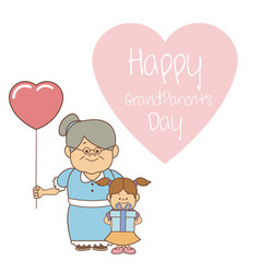 White background with elderly woman with balloon vector