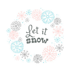 Winter lettering design on snow background with vector