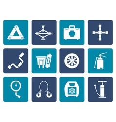Flat car and transportation equipment icons vector