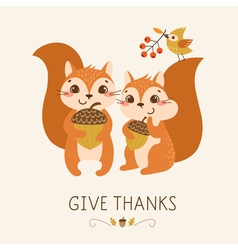 Cute thanksgiving squirrels vector