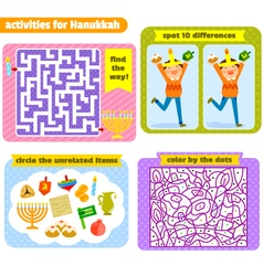 Hanukah activities vector image