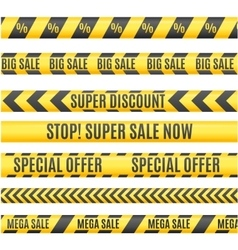 Sale labels yellow line strip tape ribbon set vector