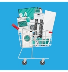 Household devices in shopping cart vector