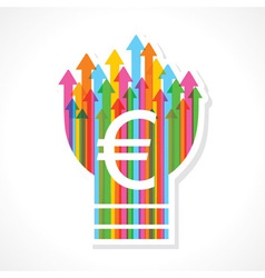 Euro symbol on colorful arrow bulb vector