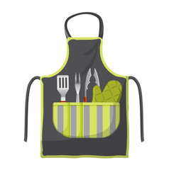 Black apron with various accessories in pocket for vector