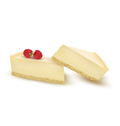 Cheesecake slice decorated with raspberry berries vector