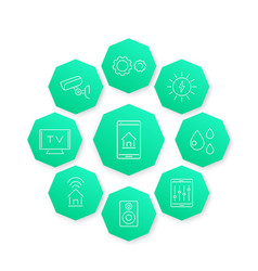 Smart house line icon modern pictograms vector