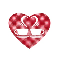 Romantic dating icon with two coffee cups and vector