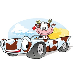 Driving cow vector