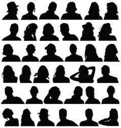 people head black silhouette vector image