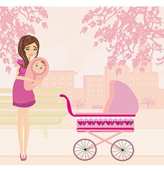 Mother and daughter in the park vector