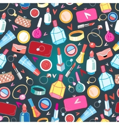 Beautiful pattern of rings and cosmetics vector