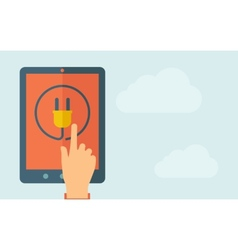 Touch screen tablet with plug icon vector