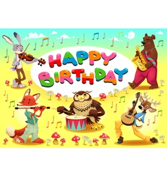 Happy birthday card with musician animals vector