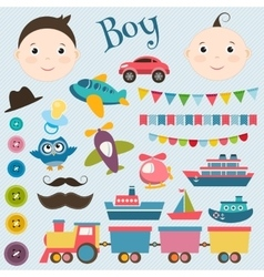 Scrapbook boy set vector
