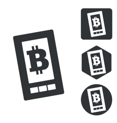 Bitcoin screen icon set monochrome vector