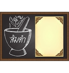 Isan food or thaifood menu on chalkboard vector