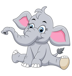 Adorable baby elephant sit vector