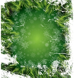 Christmas card with white snowflakes on green vector