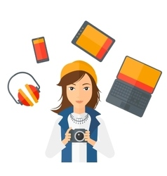 Woman holding camera vector