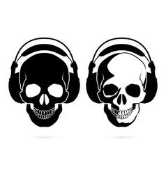 Skull with headphone vector
