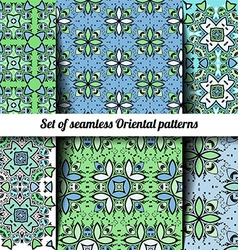 Set of 6 seamless oriental patterns vector